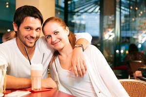 Couple Having A Good In Cafe