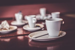 Empty Cups And Saucers On Table In A Cafe
