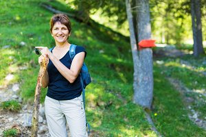 Hiking Senior Woman