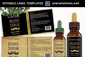 Beard Serum Label Template ID34