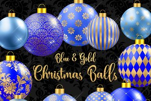 Blue and Gold Christmas Balls