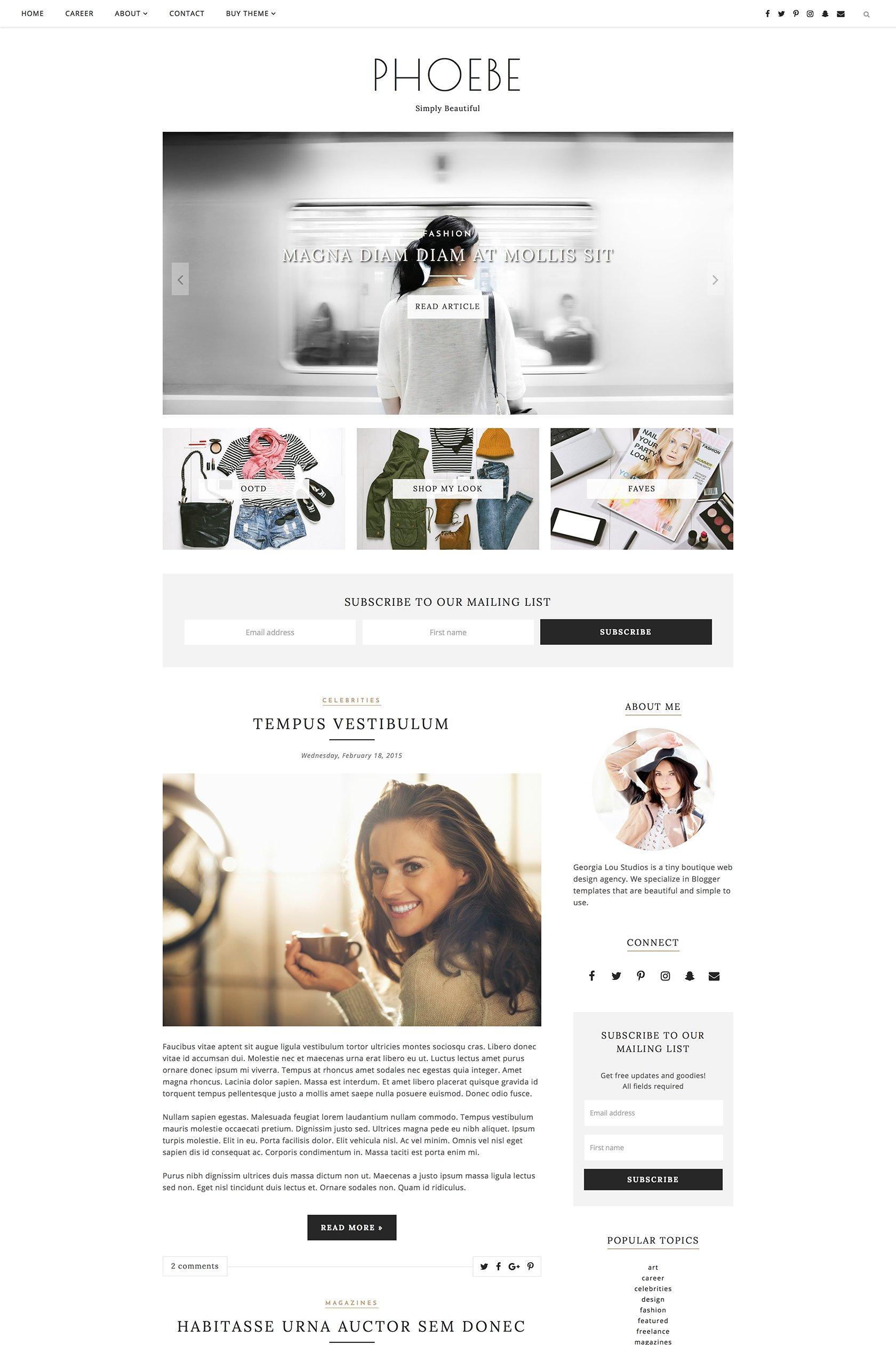 Blogger Template Responsive - Phoebe ~ Website Templates ~ Creative ...