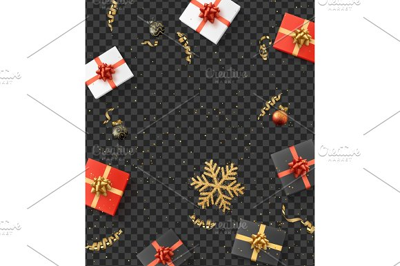 Christmas Composition Christmas Gift Confetti Golden Snowflake And Xmas Balls