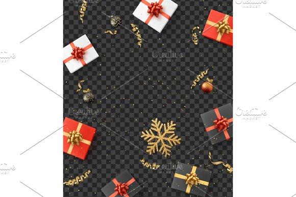 Christmas Composition Christmas Gift Confetti Golden Snowflake And Xmas Balls