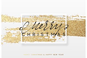 Christmas golden background. Xmas greeting card vector illustration