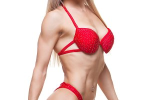 smiling woman in good shape wearing a red underwear
