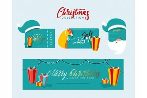 Christmas design elements, banners, labels. Xmas sale