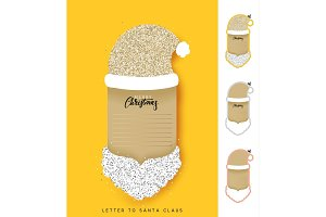 Paper notebook Santa Claus. Christmas design elements