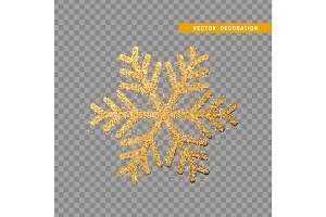 Christmas decoration, gold snowflake