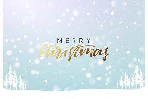 Christmas background winter landscape. Xmas greeting card