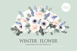 WINTER FLOWER HAND DRAWN VECTOR