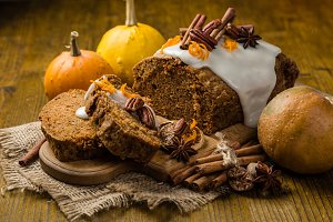 Carrot cake with autumn decorations
