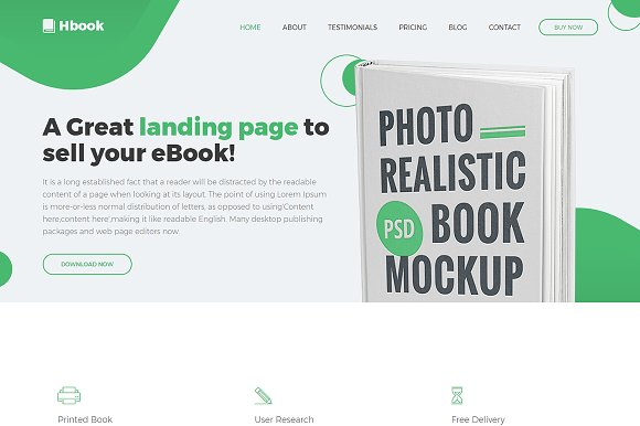 Hbook Responsive HTML Template