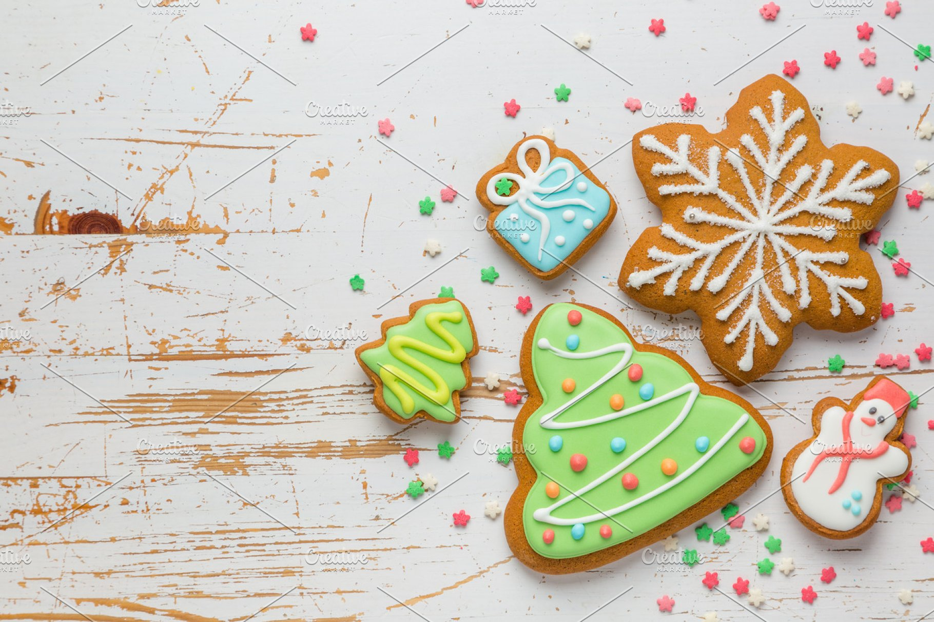 Christmas Cookies On Rustic Wood Background