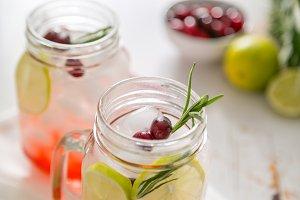 Cranberry lemonade in glass jar