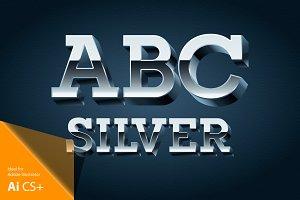 3D chrome vector alphabet