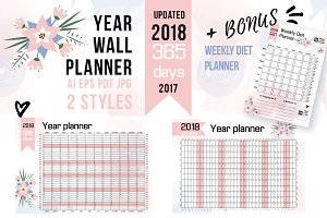 2018 YEAR WALL PLANNER + bonus!