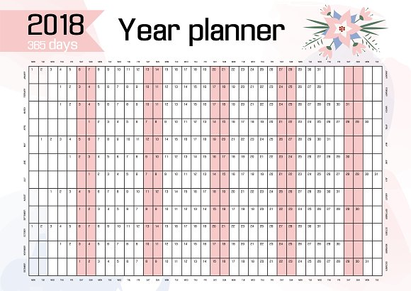 2018 year wall planner bonus stationery templates creative market