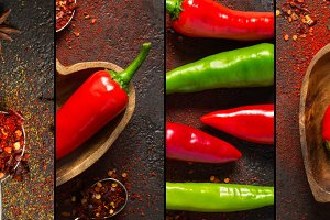 Collage with hot pepper and various spices, banner format