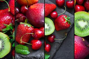 Collage with ripe juicy berries and fruits, banner format