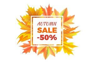Autumn Sale -50% off Icon Vector Illustration