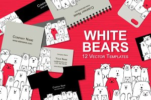 Card templates with white bears