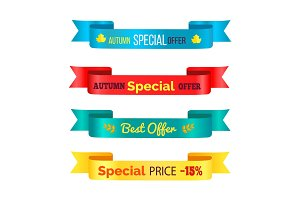 Autumn Special Offer Ribbons Vector Illustration