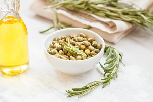 Capers, olive oil and rosemary