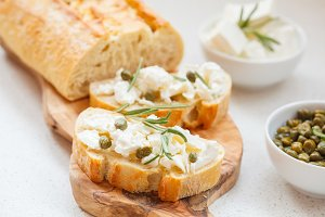 sandwiches with ciabatta and feta