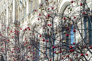 Christmas decorations on trees