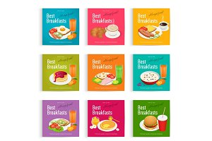 Set posters of Always fresh and delicious breakfast. Healthy food concept. Menu poster design.