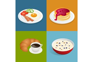 Set posters of Always fresh and delicious breakfast. Healthy food concept. Menu poster design