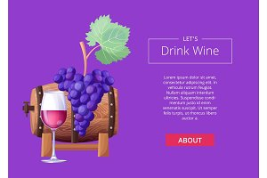 Let's Drink Wine Web Page Vector Illustration