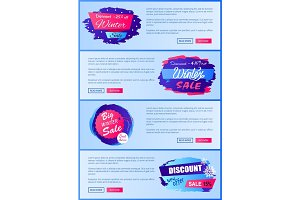 Winter Sale Web Posters Design with Buttons Set