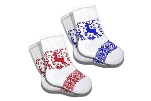 Wool socks with red and blue reindeer pattern