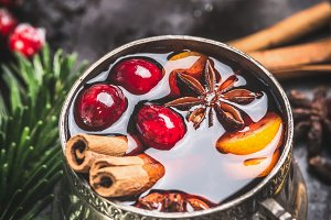 Close up of mulled wine in mug