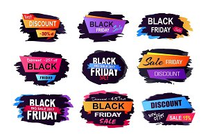 Black Friday Sale Collection Vector Illustration