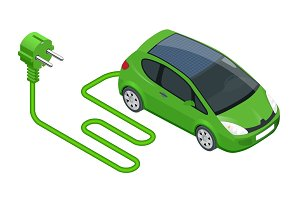 Isometric Electric car in refill. Electric refueling. Eco transportation. Vector illustration isolated on white background.