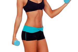 Female muscular body with dumbbells