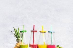 Colorful smoothies with ingredients