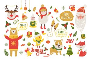Merry Christmas Poster with Cute Cartoon Animals