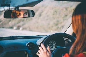 Girl enjoys driving
