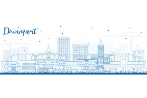 Outline Davenport Iowa Skyline