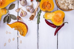 fresh pumpkin with seeds