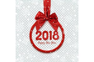 Happy New Year 2018 design. Round banner with red ribbon.