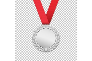 Silver medal, realistic icon.