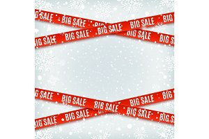 Big sale red banners. Set of warning tapes, ribbons on winter background.