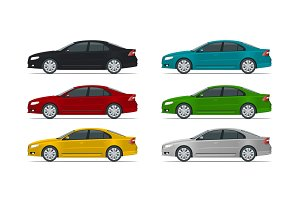 Side view of business sedan vehicle template vector isolated on white Change the colour in one click. All elements in groups