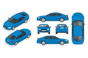 Set of Sedan Cars. Isolated car, template for branding and advertising. Front, rear , side, top and isometry front and back Change the color in one click