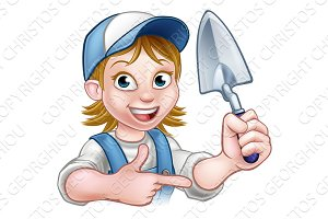 Cartoon Builder Bricklayer Worker Trowel Tool